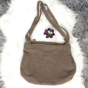 The Sak Beige Brown Crochet Hobo Sling Bag